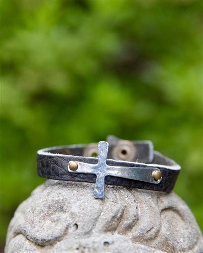 Black Distressed Leather Cuff with Cross