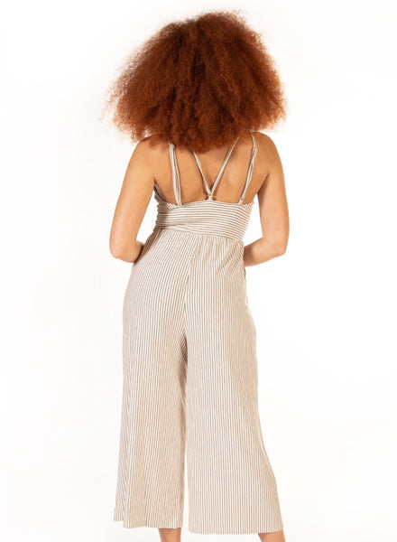 Cream/Black Stripe Wide Leg Jumpsuit