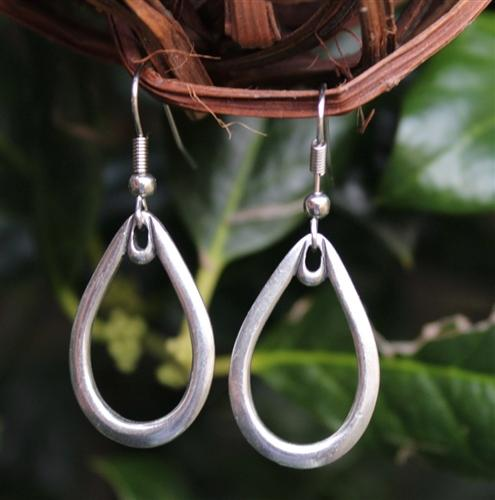 Large Teardrop Metal Earrings