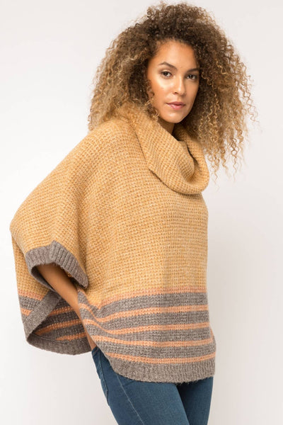 Turtle Neck Poncho in Mustard with Grey/Rust Stripes