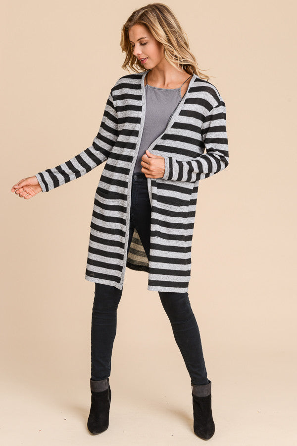 Black and Grey Stripe Long Cardigan Sweater