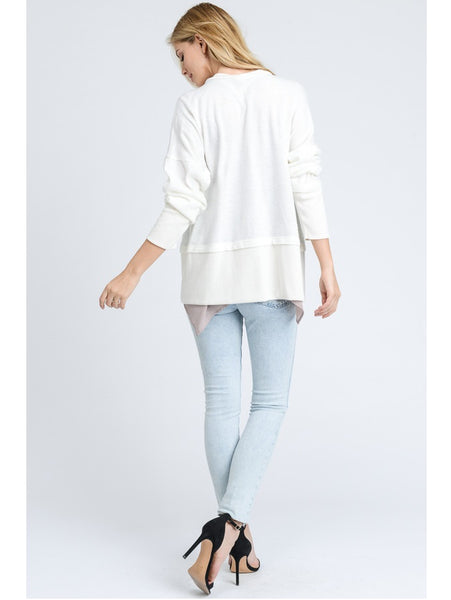 Lightweight Cardigan with Ribbed Details