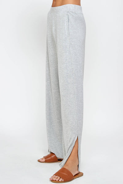 Heather Grey Lightweight Wide Leg French Terry Pants