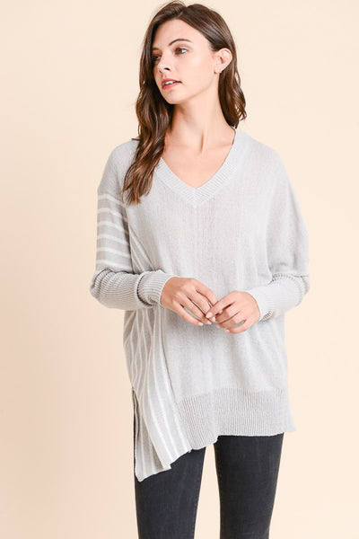 Light Grey Striped Tunic Sweater
