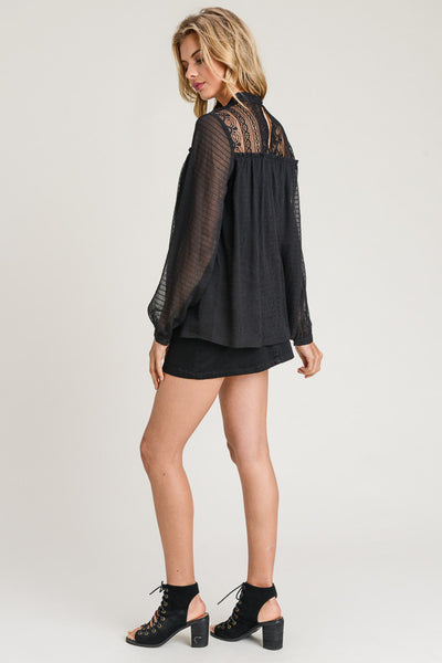 Black Chiffon Long Sleeve Lace Top