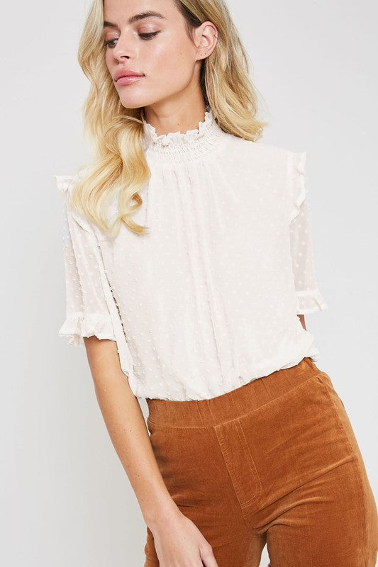 Sheer Swiss Dot Short Sleeve Mock Neck Top