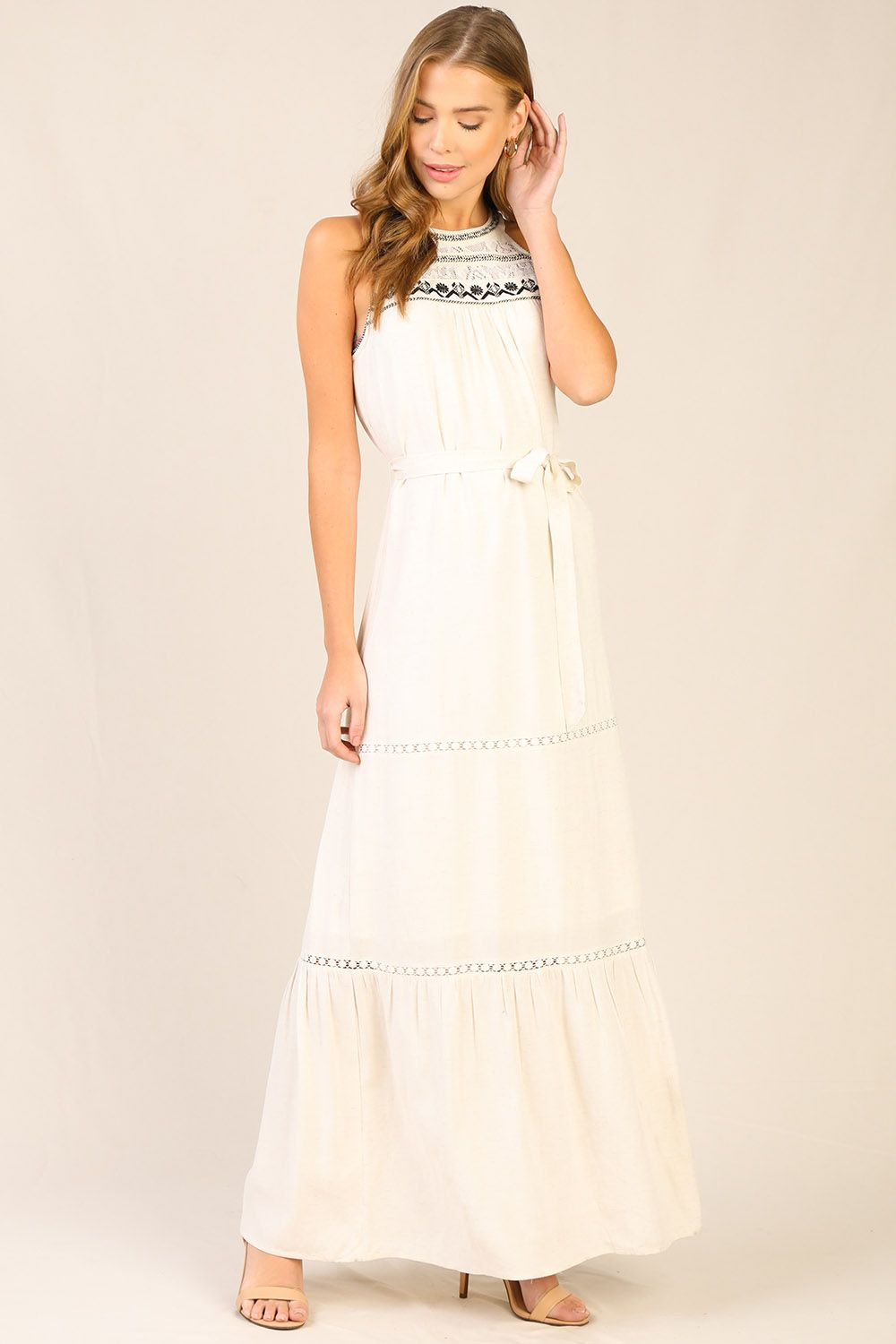 Ivory Halter Maxi Dress with Black Embroidered Detailing
