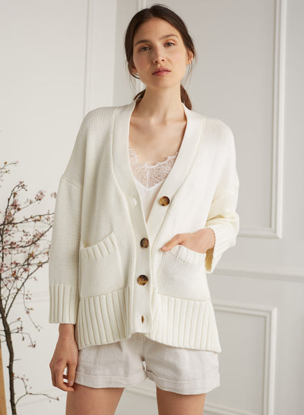Daphne Ivory Relaxed Fit Cardigan
