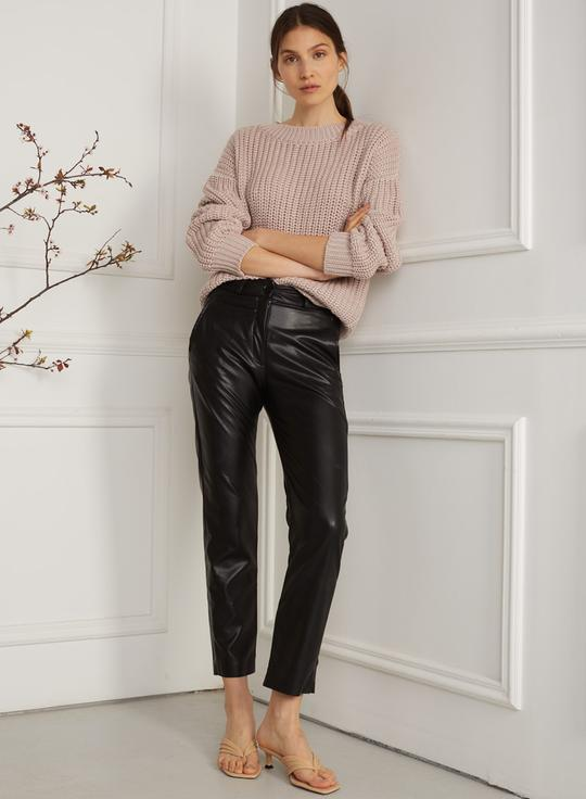 """Irina"" Black Vegan Leather Pants"