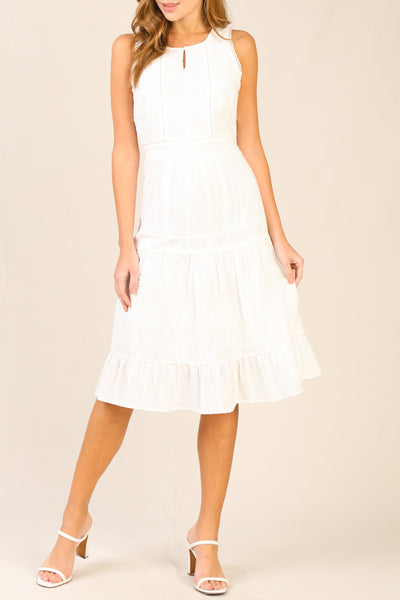 White Sleeveless Eyelet Midi Dress