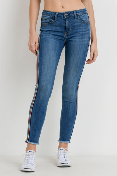 Skinny Stripe Jeans with Frayed Hem