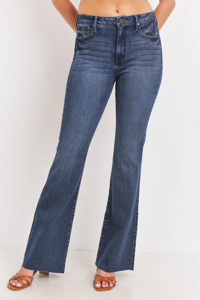 High Rise Dark Denim Scissor Cut Flare Jean
