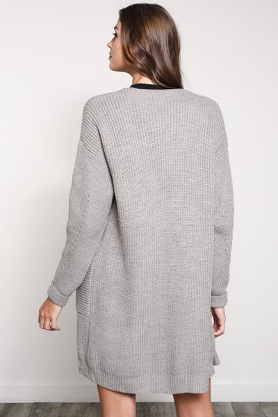 Long Sleeve Open Cardigan in Mushroom