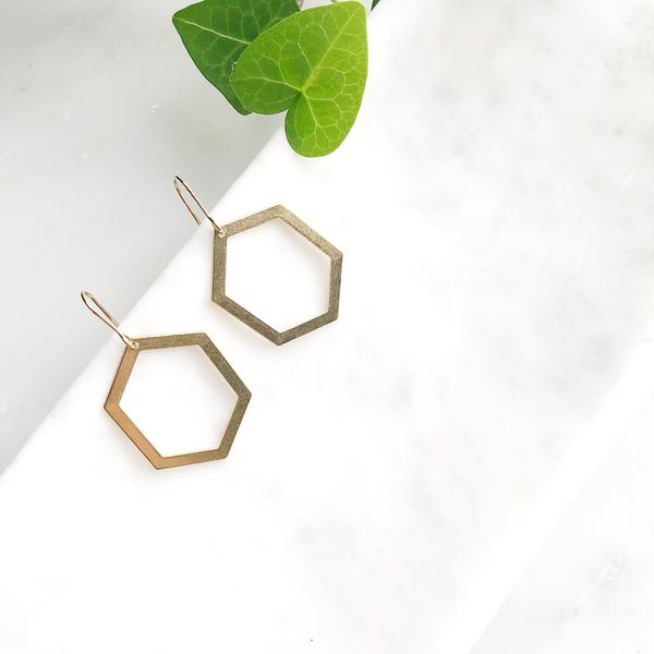 Brass Brit Hexagon Earrings