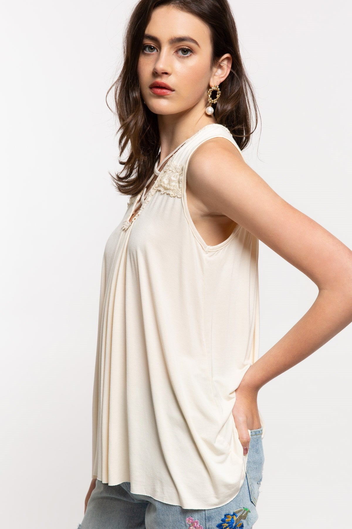 Ivory Floral Embroidered Babydoll Sleeveless Top