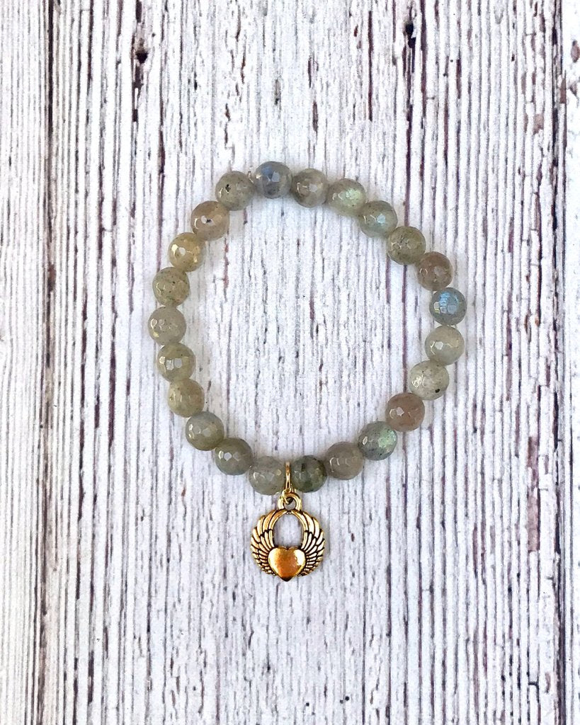 Grey Bead Stretch Bracelet