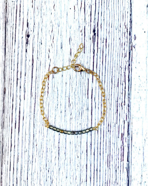 Beaded Bar Gold Bracelet