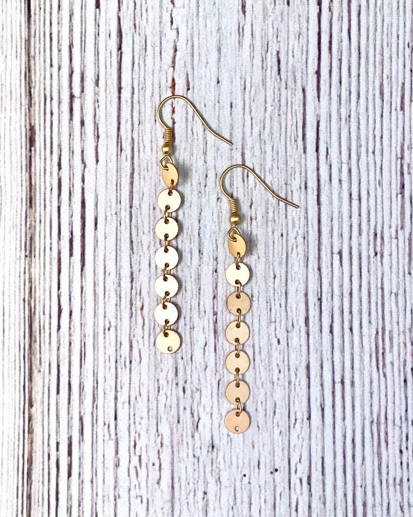 Gold or Antique Gold Halo Circle Long Earrings