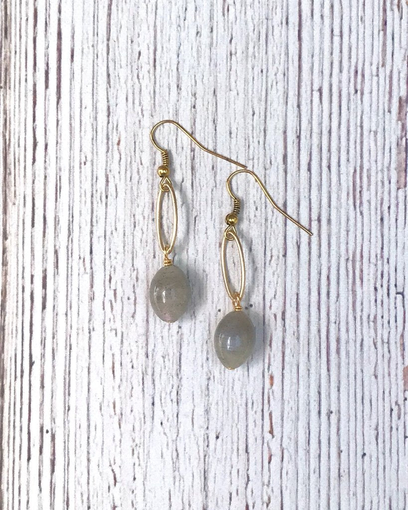 Matte Gold Oval Drop Dangle Earrings