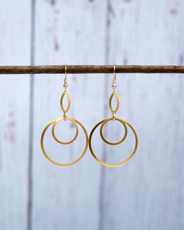 Gold Saturn Earrings