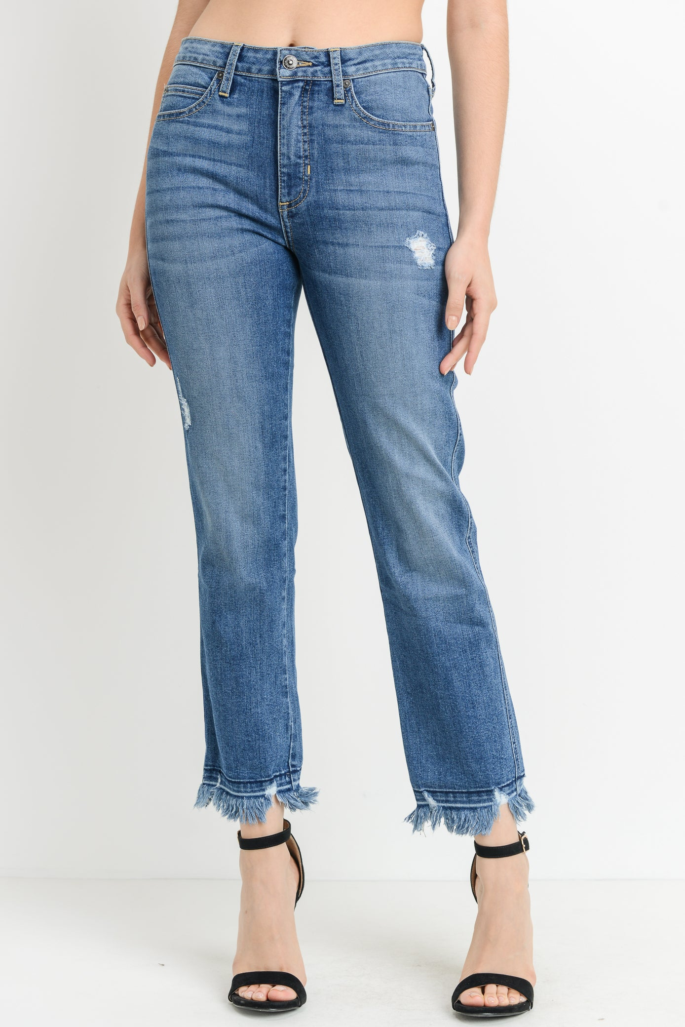 High Rise Frayed Hem Jeans