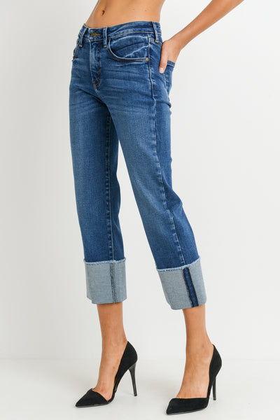 High Rise Straight Jeans with Large Cuff