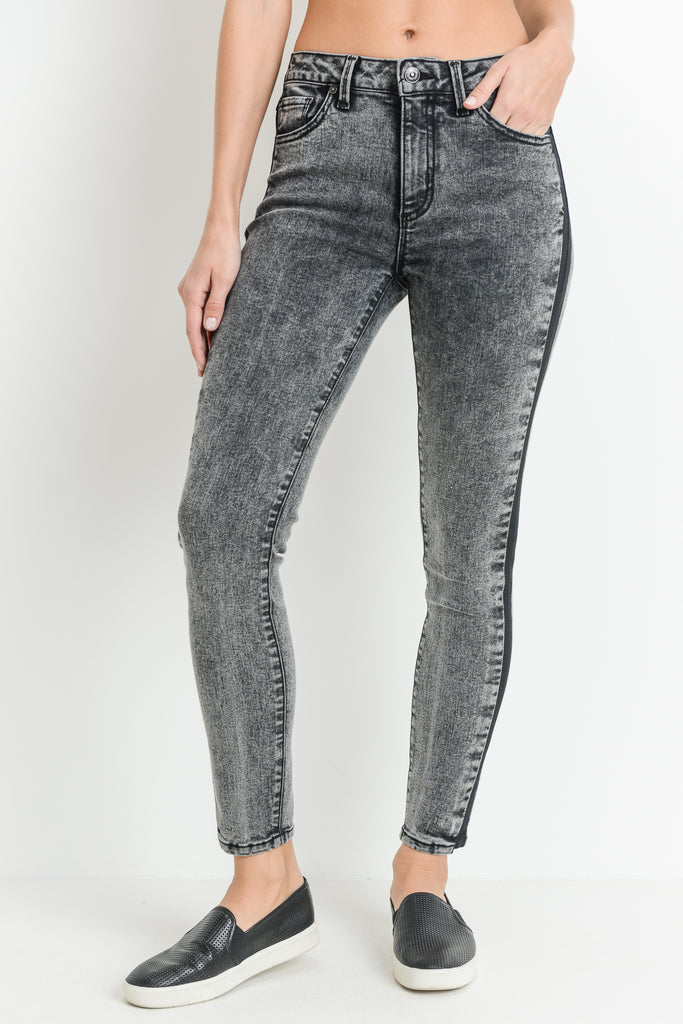 Skinny Black Acid Wash Jeans with Black Side Seam