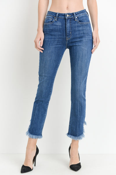 High Rise Straight Denim Jeans with Curve Fray Hem