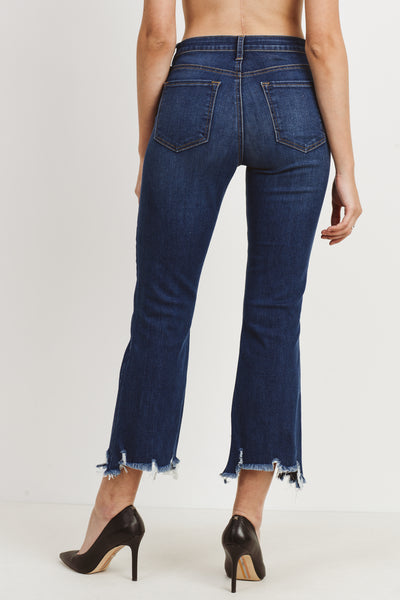 Mid Rise Crop Frayed Hem in Dark Denim