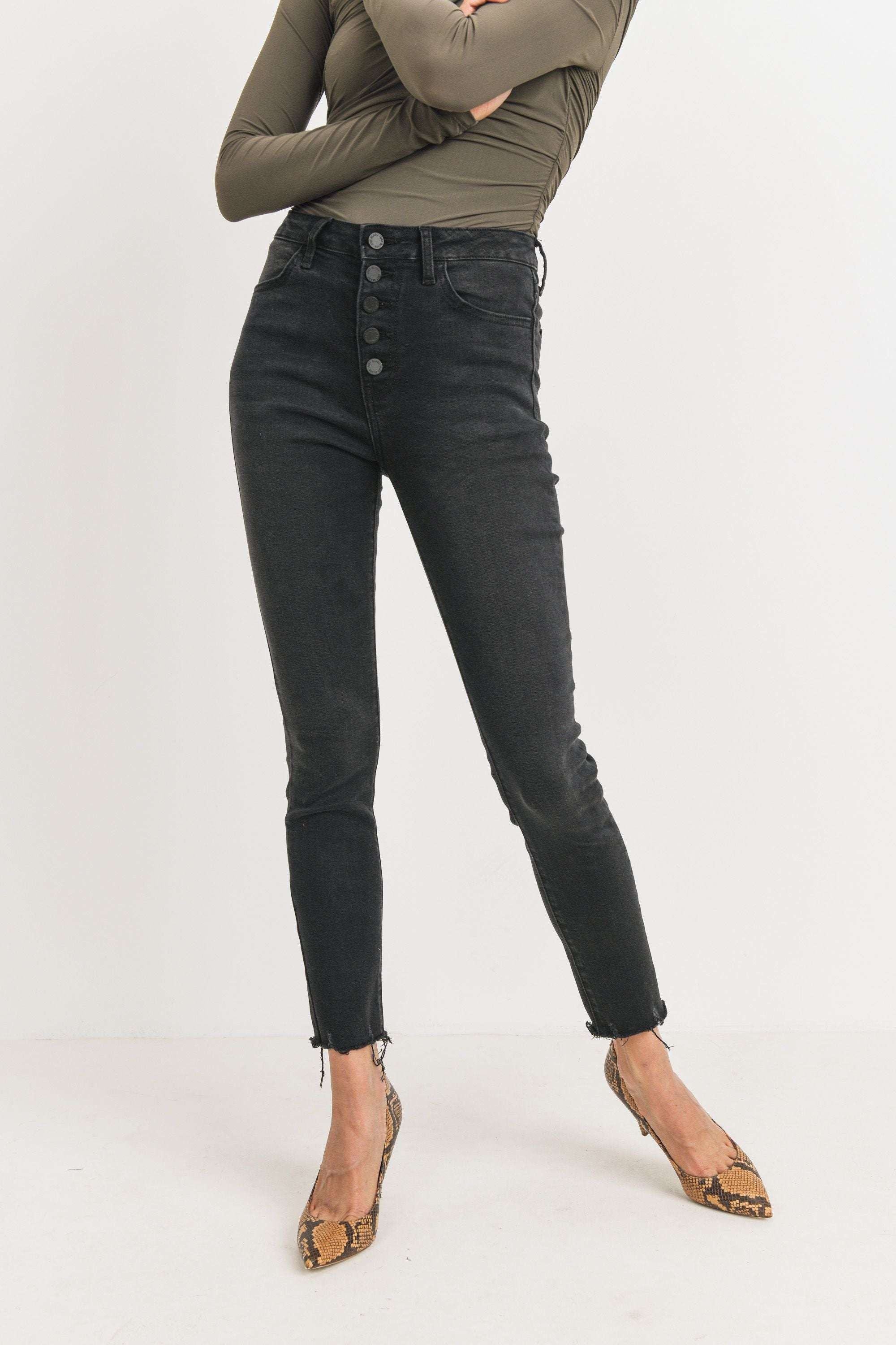 Washed Black High Rise Button Up Skinny