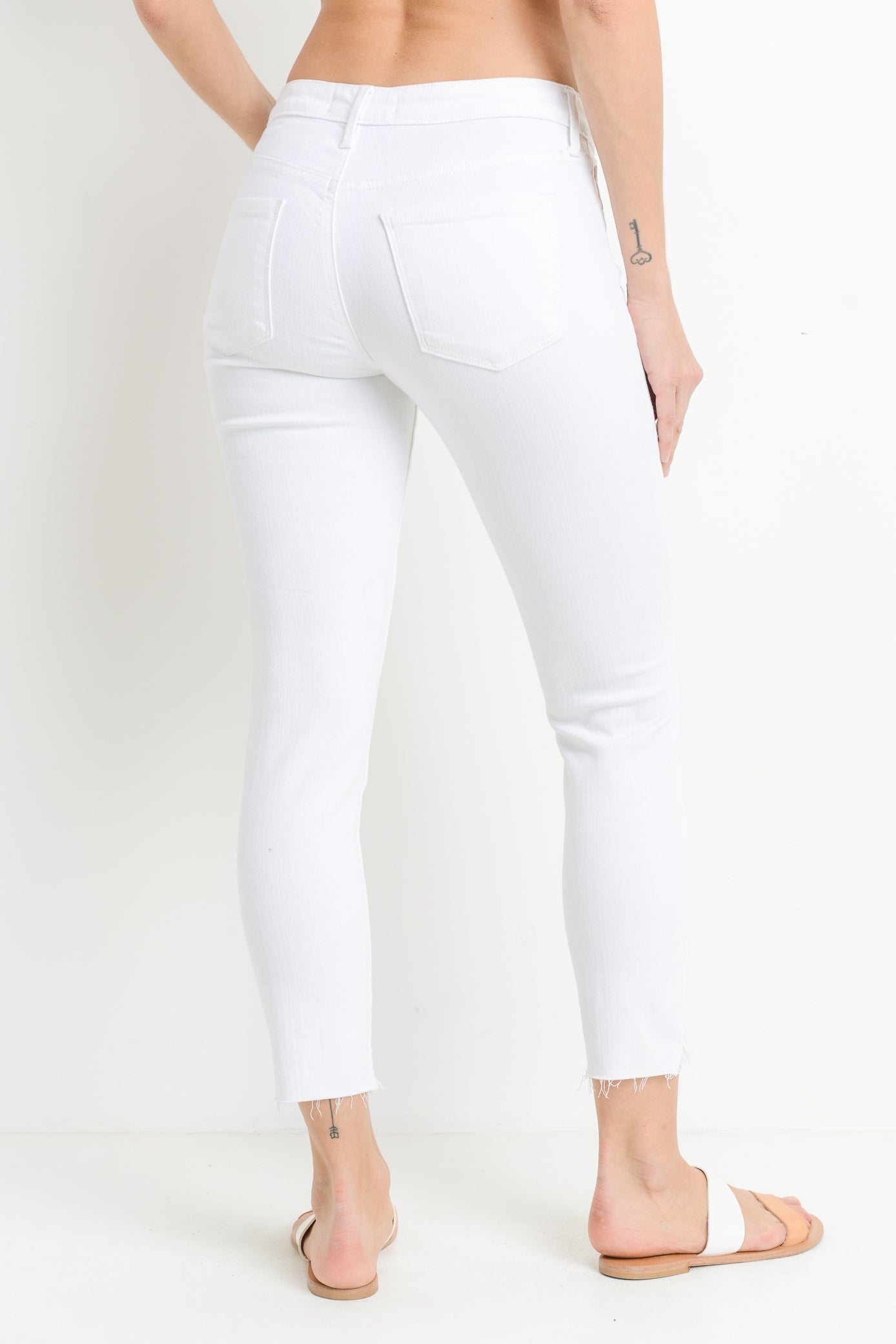 White Destroyed Hem Crop Skinny Jeans