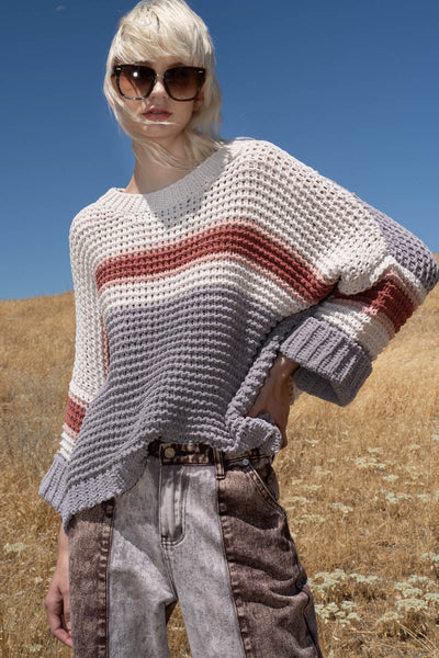 Rose Multi Chenille Stripe Sweater