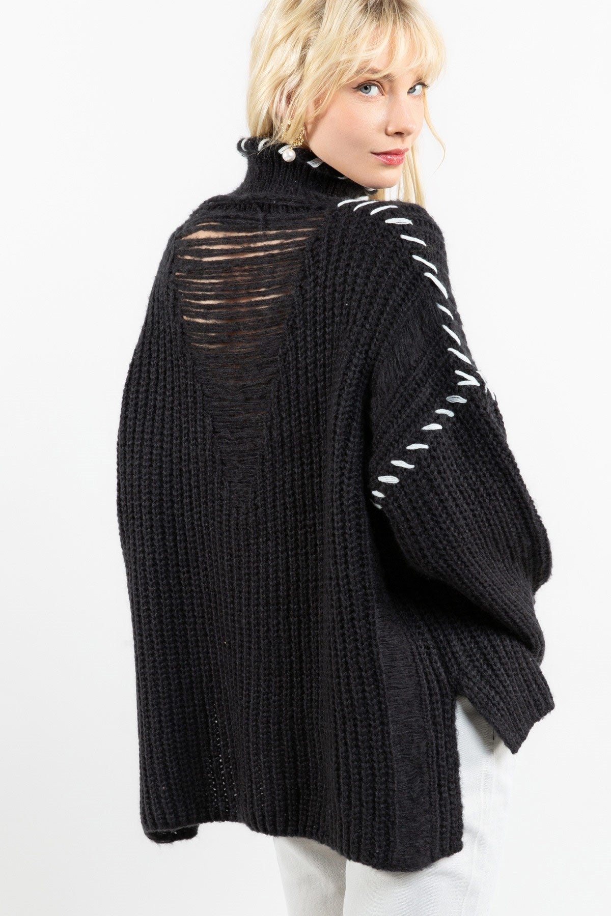 Black Turtleneck Oversized Sweater with White Stitching