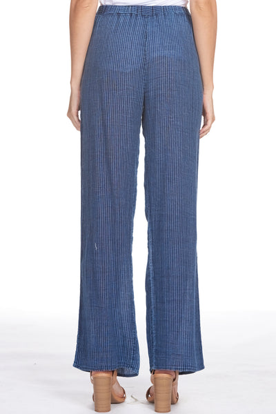 Pinstripe Pants with Tie Belt
