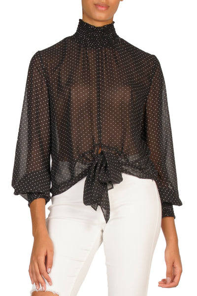 Black Paisley Smocked Long Sleeve Sheer Top