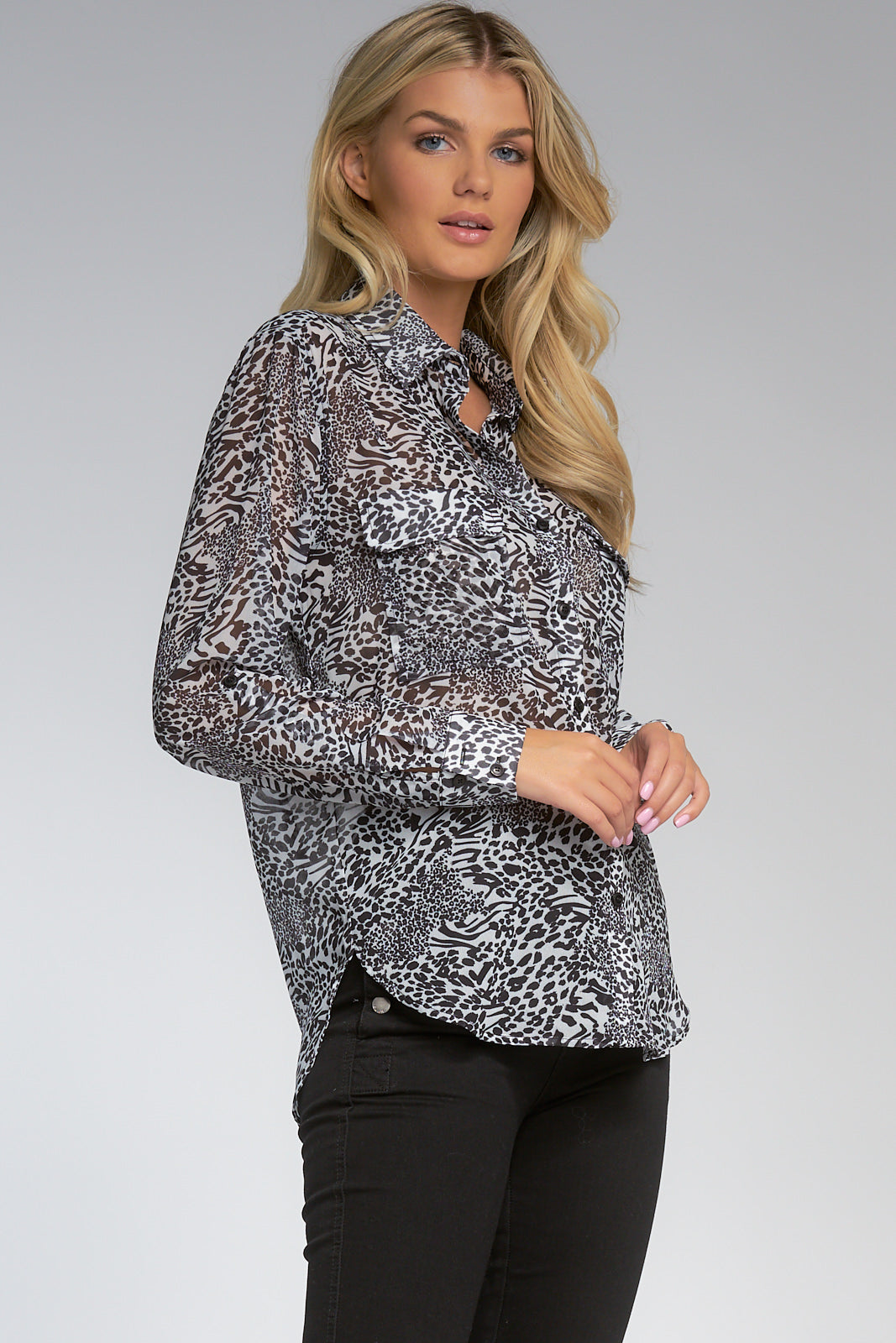 Black/White Animal Print Button Down Top