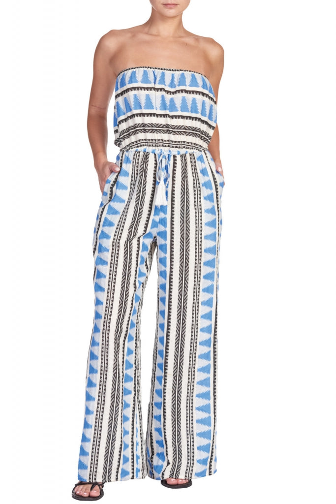 Blue Aztec Print Strapless Long Jumper