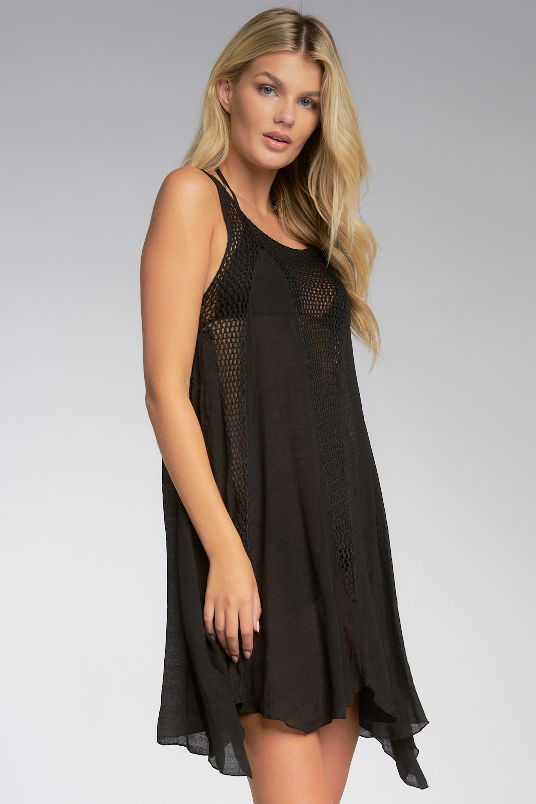 Sleeveless Coverup Dress with Crocheted Panel