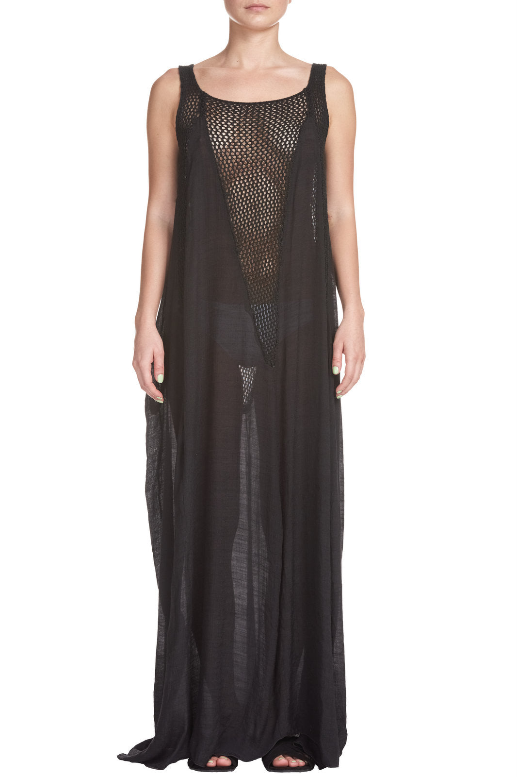 Black Sleeveless Maxi Cover Up with Crochet Inset