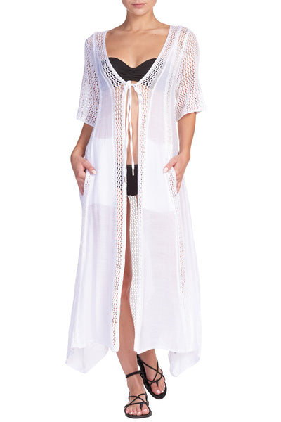 White Short Sleeve Kimono Duster/Cover Up