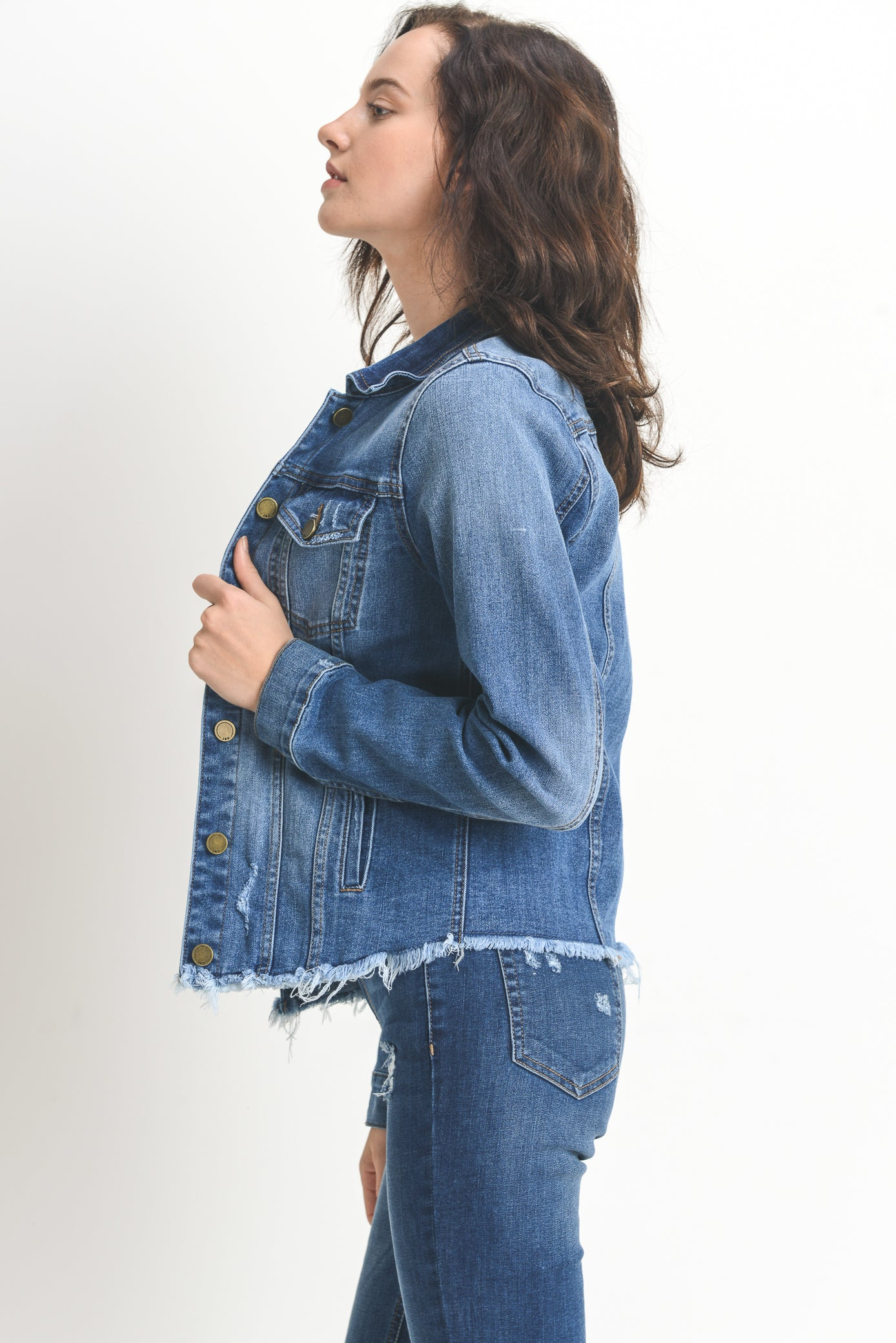 Frayed Hem Denim Jacket