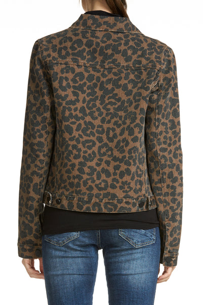 Brown Leopard Jean Jacket