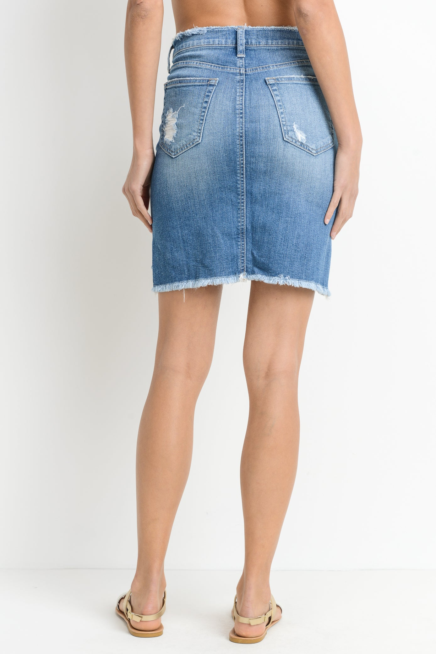 Hi-lo Distressed Denim Pencil Skirt
