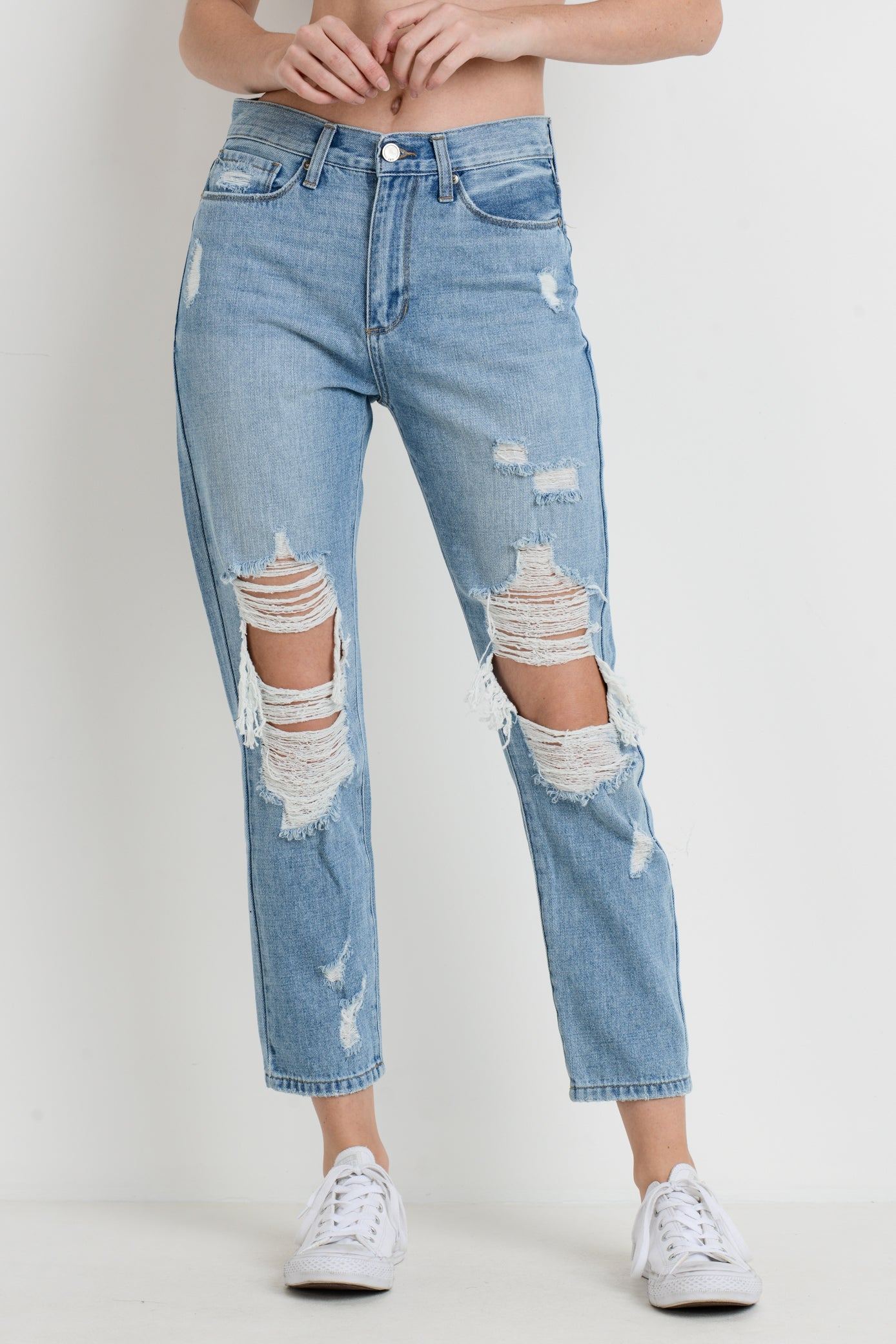 High Rise Super Distressed Girlfriend Jeans