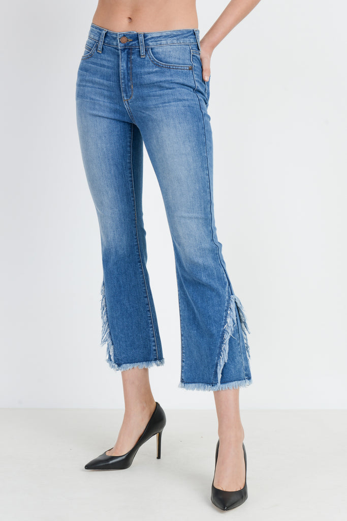 High Rise Crop Flare Jeans with Crossed Fray Hem