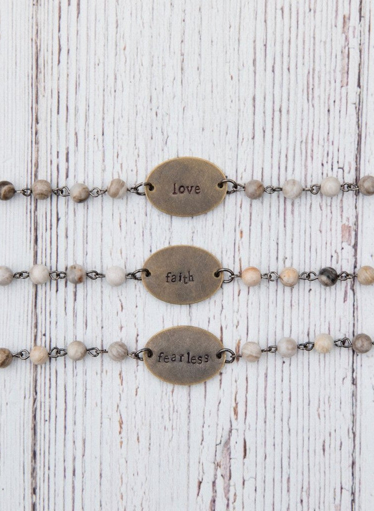 Inspirational Stamped Beaded Chain Bracelet