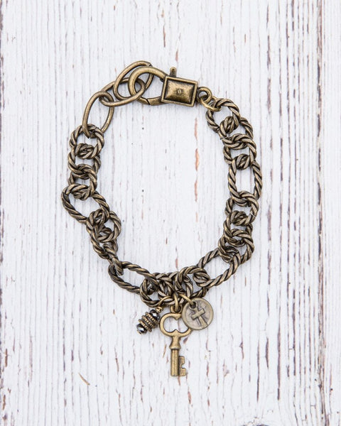 Etched Metal Chain Link Bracelet