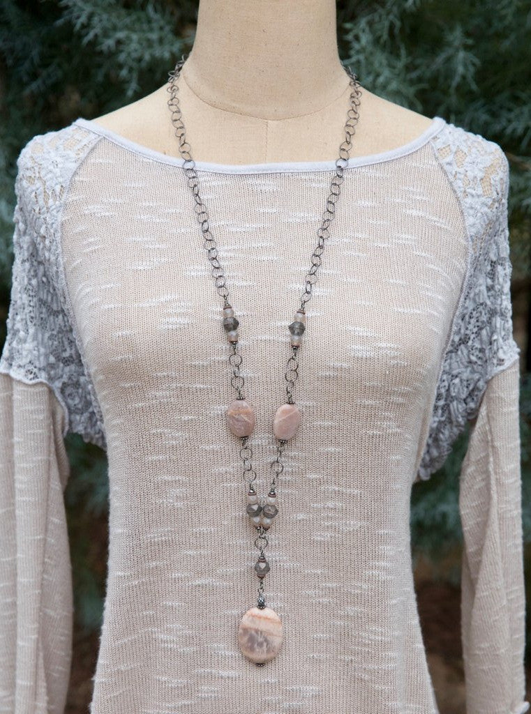 Handcrafted Blush Pink Stone Long Necklace