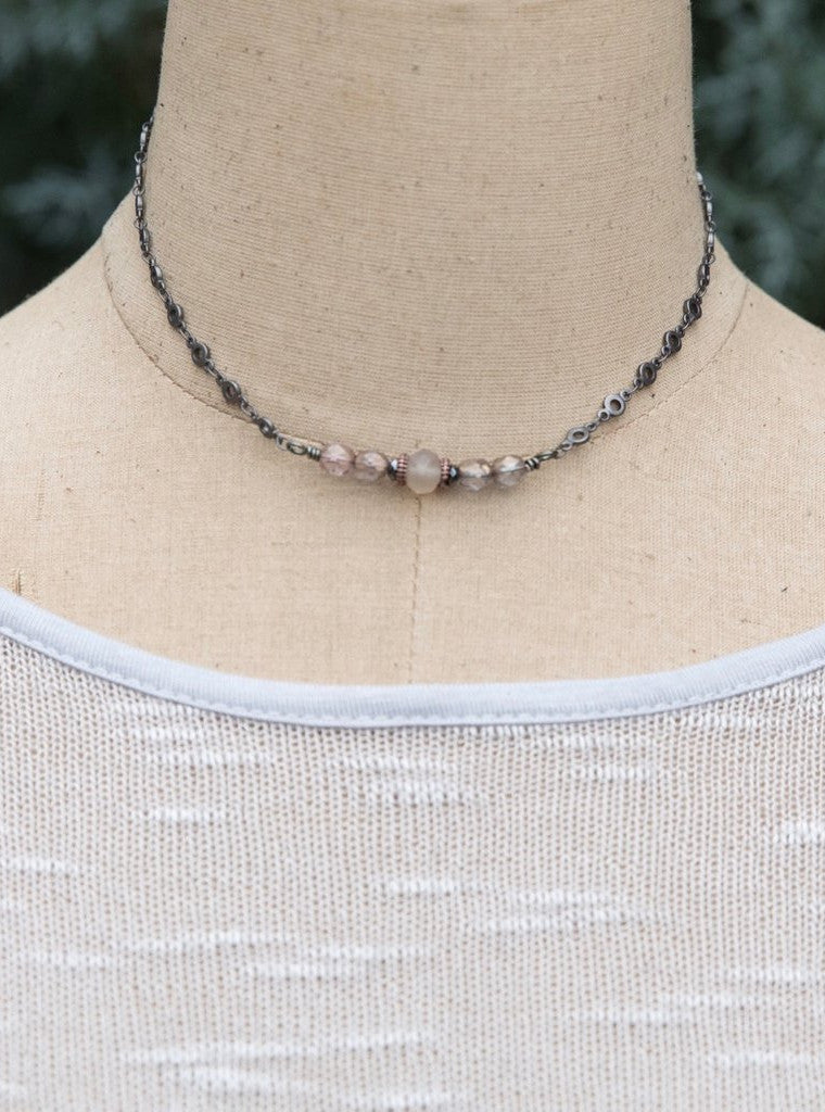 Short Necklace with Blush Crystals