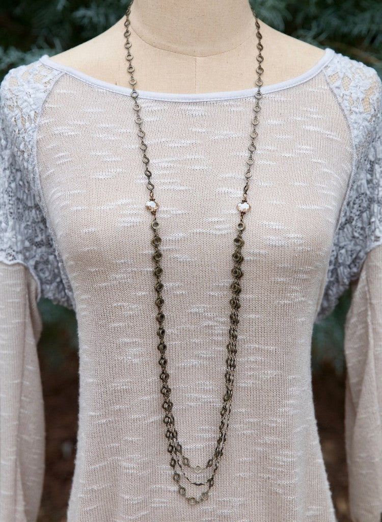 Long Metal and Crystal Layered Chain Necklace